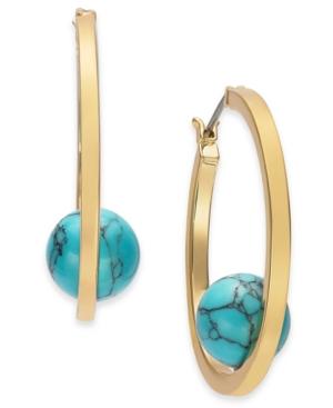 Gold-Tone Medium Stone Ball Hoop Earrings