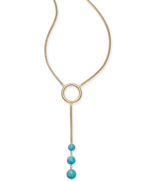 """Gold-Tone Stone Ball 23"""" Lariat Necklace"""