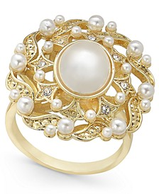 Gold-Tone Crystal & Imitation Pearl Statement Ring, Created for Macy's