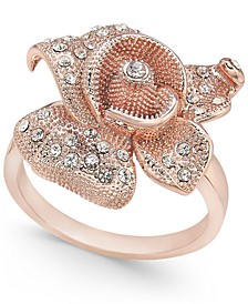 Rose Gold-Tone Crystal Flower Statement Ring, Created for Macy's