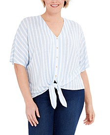 Plus Size Striped Tie-Hem Top