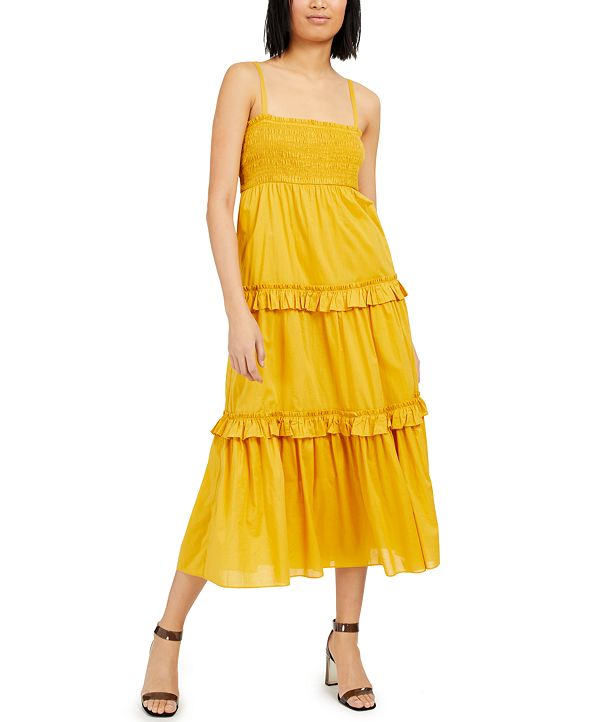 INC International Concepts INC Cotton Smocked Tiered Maxi Dress, Created for Macy's
