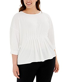 Plus Size Pleated Dolman-Sleeve Top, Created for Macy's