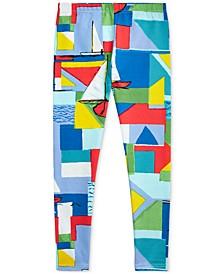 폴로 랄프로렌 걸즈 레깅스 Polo Ralph Lauren Big Girls Sailboat-Print Stretch Jersey Leggings,Cream Multi
