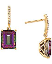 Mystic Topaz (5-3/4 ct. t.w.) & Diamond (1/20 ct. t.w.) Drop Earrings in 14k Gold
