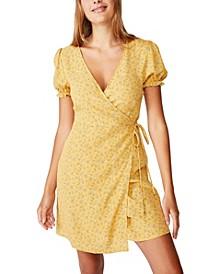 Woven Amy Wrap Mini Dress