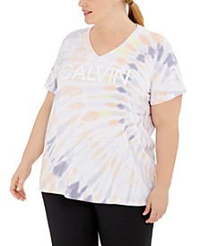 Plus Size V-Neck Tie-Dyed Logo T-Shirt