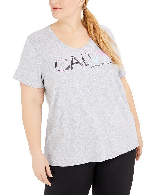 Calvin Klein Plus Size V-Neck Logo T-Shirt