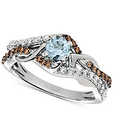 Sea Blue Aquamarine (1/4 ct. t.w.) & Diamond (3/8 ct. t.w.) Statement Ring in 14k White Gold