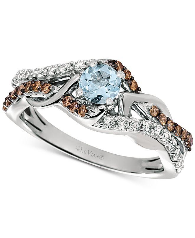 Le Vian Sea Blue Aquamarine (1/4 ct. t.w.) & Diamond (3/8 ct. t.w.) Statement Ring in 14k White Gold