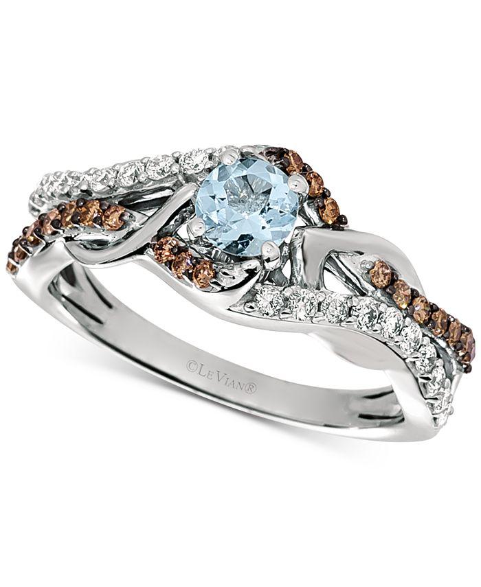 Le Vian - Sea Blue Aquamarine (1/4 ct. t.w.) & Diamond (3/8 ct. t.w.) Statement Ring in 14k White Gold