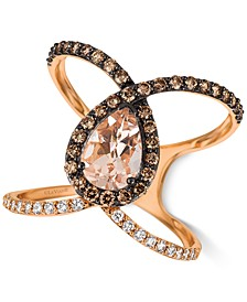 Peach Morganite (7/8 ct. t.w.) & Diamond (5/8 ct. t.w.) Ven Ring in 14k Rose Gold