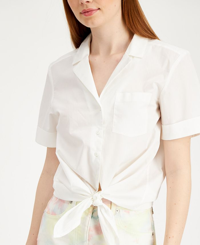 French Connection - Rhodes Cotton Tie-Front Blouse