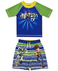 Toddler Boys 2-Pc. Toy Story Rash Guard & Swim Trunks Set