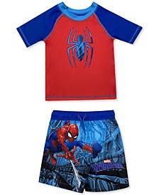 Toddler Boys 2-Pc. Spiderman Rash Guard & Swim Trunks Set