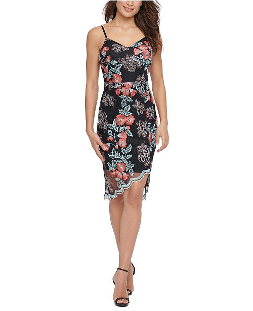 GUESS Embroidered-Mesh Sheath Dress