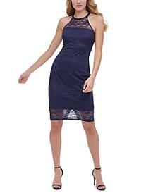 Lace Illusion Halter Dress