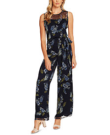 Vince Camuto Petite Weeping Willows Printed Illusion Jumpsuit