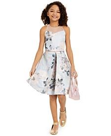 Big Girls Floral Jacquard Illusion Dress