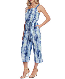 Vince Camuto Belted Linear Shibori Printed Jumpsuit