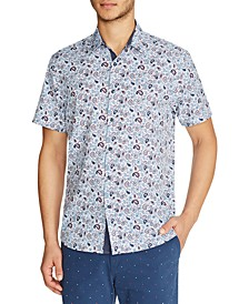 Men's Slim Fit Paisley 4-Way Stretch Short Sleeve Button-Down Shirt