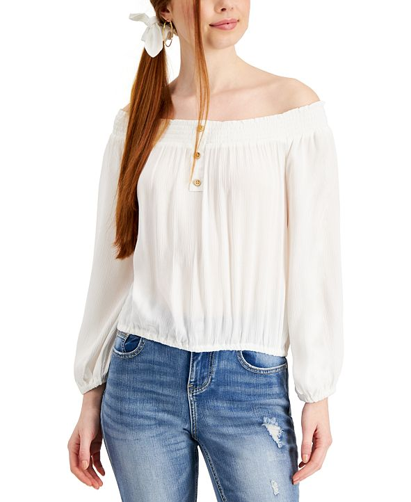 Vanilla Star Juniors' Off-The-Shoulder Top with Scrunchie