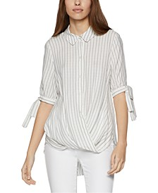 Pinstriped High-Low Blouse