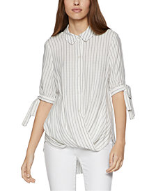 BCBGeneration Pinstriped High-Low Blouse