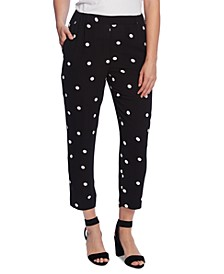 Polka-Dot Slim-Leg Pull-On Ankle Pants