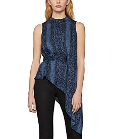 Asymmetrical Snake-Embossed Top