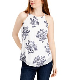 Juniors' Embroidered Floral Top