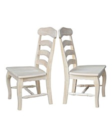 Country French Chairs with Solid Seats, Set of 2