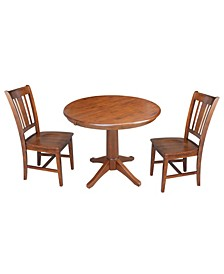 """36"""" Round Extension Dining Table with 2 Rta Chairs"""