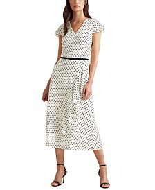 Petite Ruffle-Trim Crepe Dress