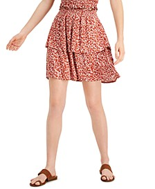 Juniors' Tiered Floral-Print Mini Skirt