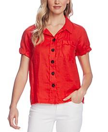 Linen Button-Front Shirt