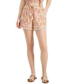 Juniors' Printed Lace-Trim Shorts