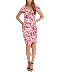 Petite Floral Flutter-Sleeve Dress