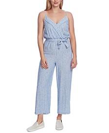 Tranquil Stripe Wrap Front Jumpsuit
