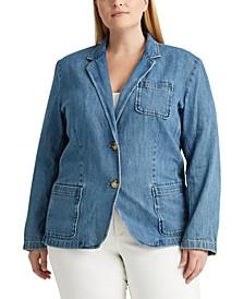 Plus-Size Cotton Denim Blazer