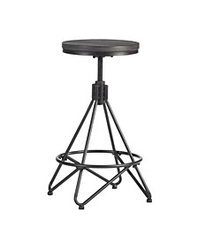 Stella Industrial Backless Metal Swivel Adjustable Height Stool with Round Wood Seat