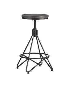 Hillsdale Stella Industrial Backless Metal Swivel Adjustable Height Stool with Round Wood Seat
