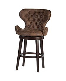 Mid-City Wood and Upholstered Swivel Bar Height Stool