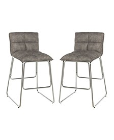 Cross Stitch Metal Upholstered Seat Counter Height Stool, Set of 2