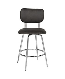 Retro Metal Upholstered Seat Swivel Counter Height Stool, Set of 2