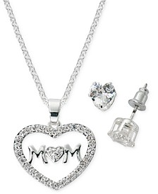 "Fine Silver Plate Cubic Zirconia MOM Heart Necklace and Stud Earring Set, 18"" + 3"" extender"
