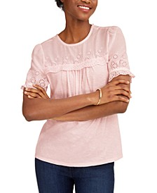 Woven Mix Embroidered Top