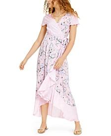 Juniors' Floral-Print High-Low Wrap Maxi Dress