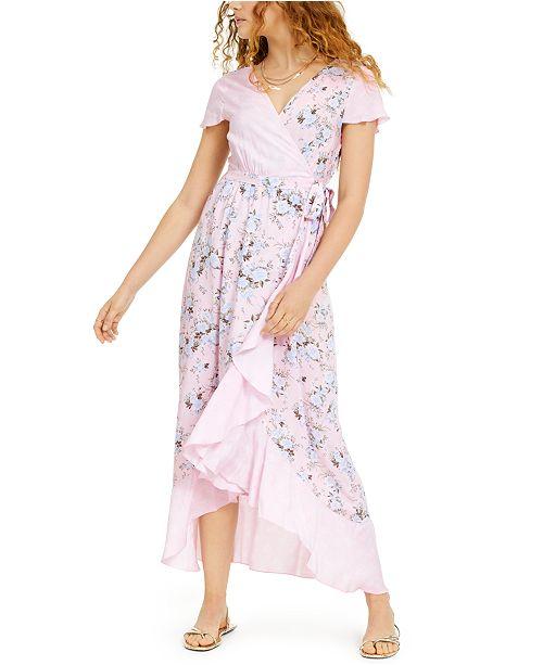Ultra Flirt Juniors' Floral-Print High-Low Wrap Maxi Dress