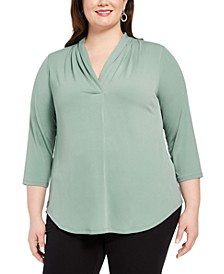 Plus Size Pleated V-Neck Top, Created for Macy's